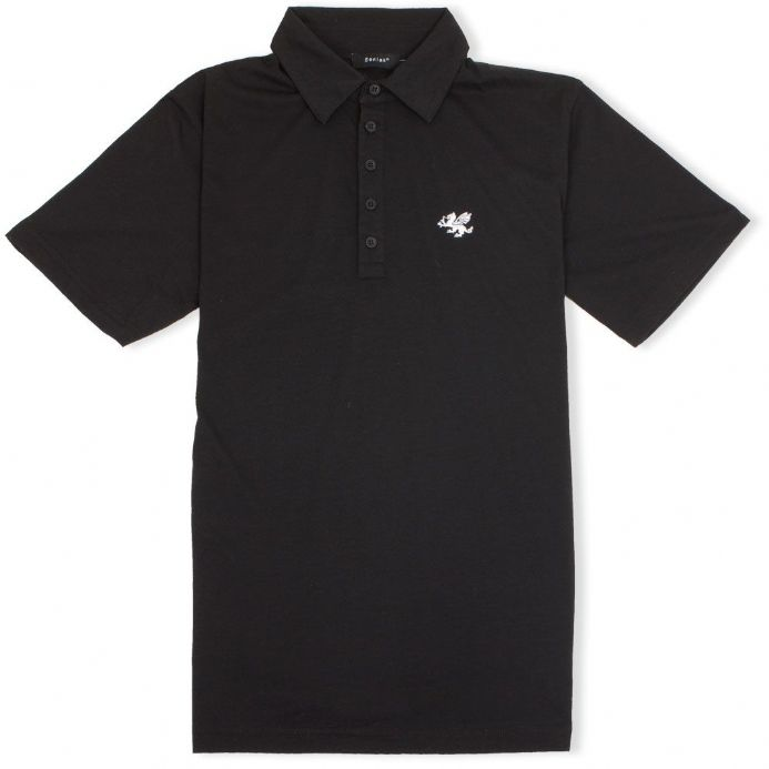 Anglo-Saxon White Dragon 5 Button Jersey Polo Shirt - Black